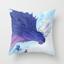 Purple Dragon Mother Throw Pillow