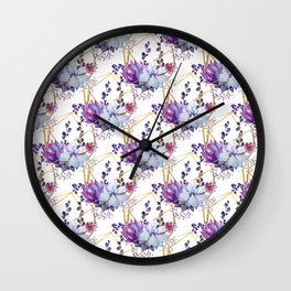 Watercolor purple lavender teal hand painted cactus floral Wall Clock