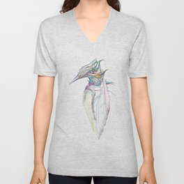 Kingfisher 1c. Color lines on white background-(Red eyes series) Unisex V-Neck