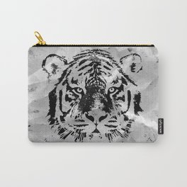 Black and white Tiger portrait  on paper canvas Carry-All Pouch