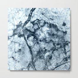 Icy Blue Texture Granite Metal Print