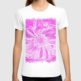 White Flower On Hot Pink Crayon T-shirt