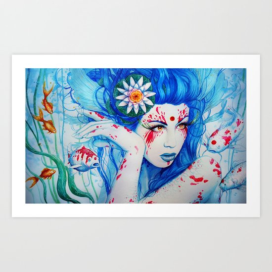 """Goddess of the Koi"" Art Print"
