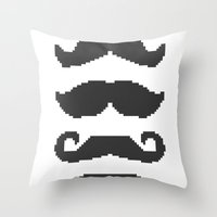 moustache Throw Pillows featuring Moustache by Jake  Williams