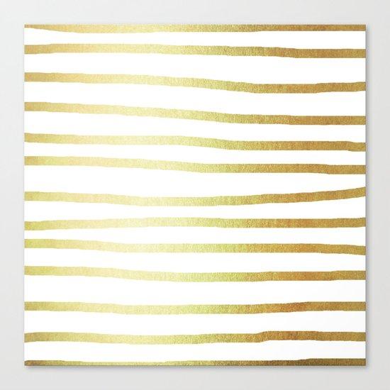 Simply Drawn Stripes 24k Gold Canvas Print