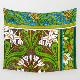 Jonquil Art Nouveau Flower Tiles Wall Tapestry
