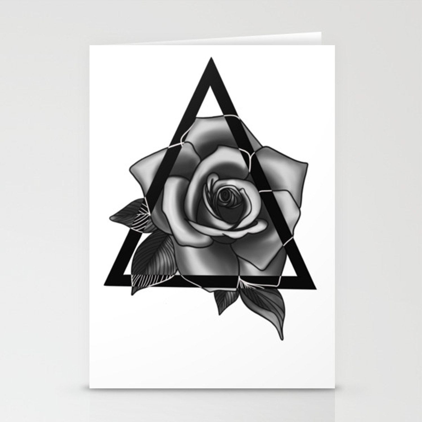 Rose Tattoo Design Stationery Cards By Ellarosestudio