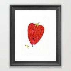 Eat Your Fruit! // Strawberry Framed Art Print