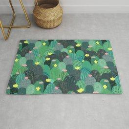 Summer Green Teal Cactus & Gold dots Cute Design Rug