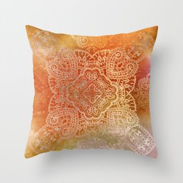 paisley star in hot hues Throw Pillow