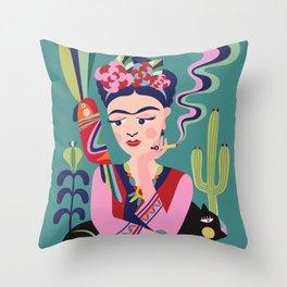 Frida Kahlo & the black cat Throw Pillow