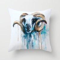 sheep Throw Pillows featuring Sheep by Slaveika Aladjova