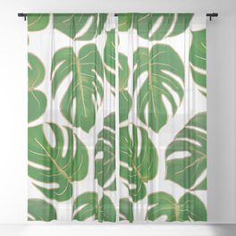 Modern hand painted green faux gold monster leaves Sheer Curtain