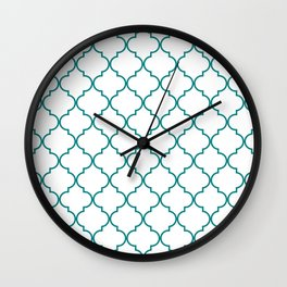 Quatrefoil - white with teal Wall Clock