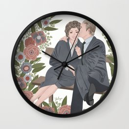 Couple on a bench Wall Clock