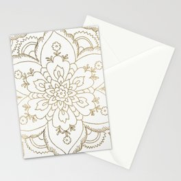 Chic elegant white faux gold spiritual floral mandala Stationery Cards