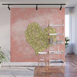 Gold butterflies heart and peach texture Wall Mural