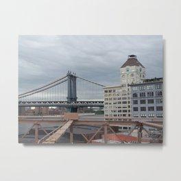 Brooklyn Bridge, New York City,  View of Hudson River, Skyline, Architecture,  Metal Print