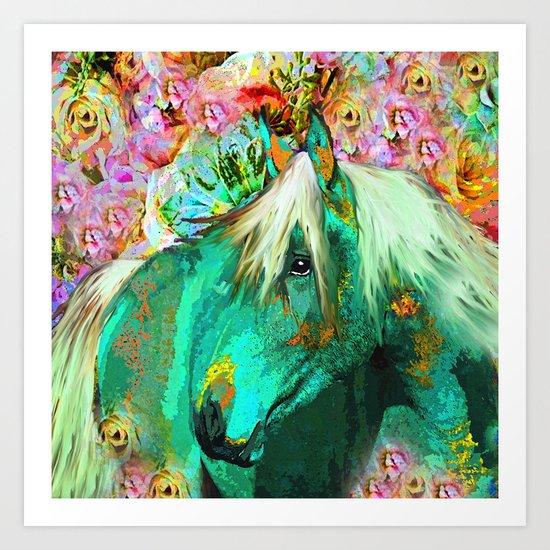 HORSE IN THE GARDEN Art Print