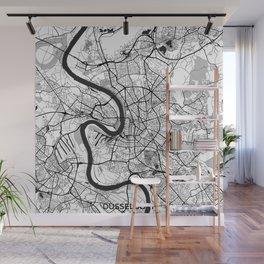 Dusseldorf Map Gray Wall Mural