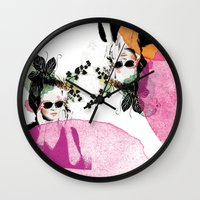 sunglasses Wall Clocks featuring Sunglasses by Lorene R illustration