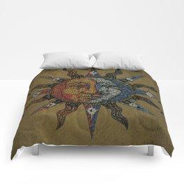 Vintage Celestial Mosaic Sun & Moon Comforters