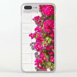 Bougainvilleas and White Brick Wall in Palm Springs, California Clear iPhone Case