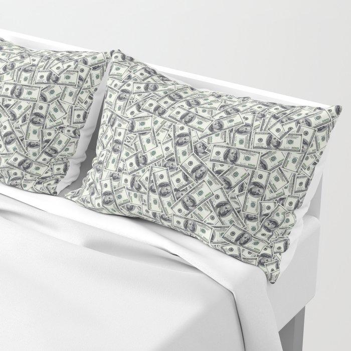 Giant money background 100 dollar bills / 3D render of thousands of 100 dollar bills Pillow Sham