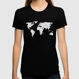 Earth Map Dark Gray and White Continents T-shirt