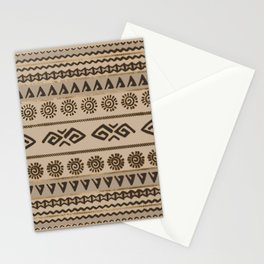Aztec Tribal Pattern Beige and Gold Stationery Cards
