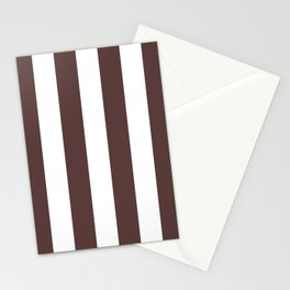 Dark Brown Granite and White Wide Vertical Cabana Tent Stripe Stationery Cards
