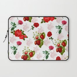Roses and Strawberry Pattern Laptop Sleeve