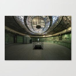 Art Deco Control Room inside of an abandoned power station Canvas Print