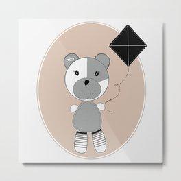 Bear with Kite Metal Print