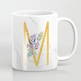 Modern glamorous personalized gold initial letter M, Custom initial name monogram gold alphabet prin Coffee Mug