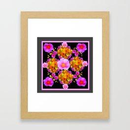 Wild Pink & Fuchsia Roses Daffodil Grey Pattern Framed Art Print