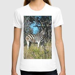 Two Zebras Bush Savana Portrait T-shirt
