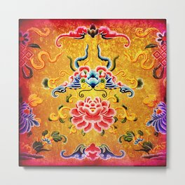 Golden Chinese Ornament Metal Print