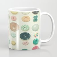 cassia beck Mugs featuring The Button Collection by Cassia Beck