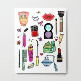 Cosmetic Doodles Metal Print