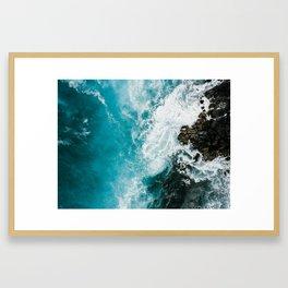 Hawaii Rocky Beach WAves Framed Art Print