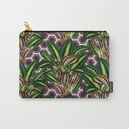 Palm on Polygon Pattern - White Purple Gold Carry-All Pouch