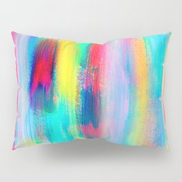 BE POSITIVE #2 Colorful Abstract Painting Lines Pattern Fluorescent Modern brushstrokes Pillow Sham