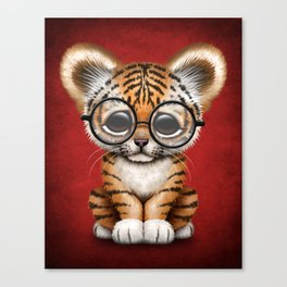 Cute Baby Tiger Cub Wearing Eye Glasses on Deep Red Canvas Print