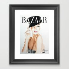 Harper's Bazaar Magazine Cover. Miranda Kerr. Fashion Illustration Framed Art Print