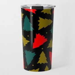Red, Green, and Gold Christmas Trees Travel Mug