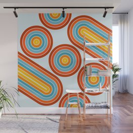 Retro Motion 2 – Orange / Yellow / Blue Abstract Stripe Pattern Wall Mural