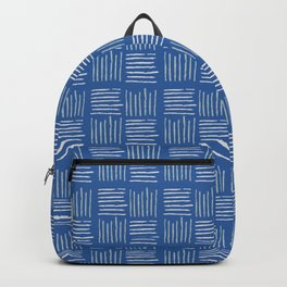 Geometrical grey lines pattern on blue Backpack