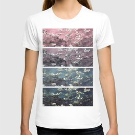 Vincent Van Gogh Almond Blossoms Panel Dark Pink Eggplant Teal T-shirt