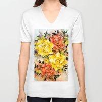 batik V-neck T-shirts featuring BATIK FLOWERS  by Acus